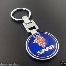 Metal Car Single Side Logo keyring keychain pendant Key Holder fit for SAAB