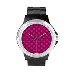 Hot Pink Deep Pink Polka Dot Pattern Girly Trendy Watch