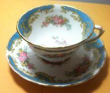 "Vintage Tuscan Fine English Bone China Blue Tea Cup And Saucer ""Naples"""