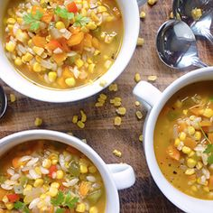 Corn, Three Pepper and Orzo Soup - A filling, sweet and Summery soup.