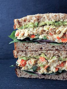 Mashed Chickpea Salad Sandwich - chickpea celery carrot scallion tahini mustard
