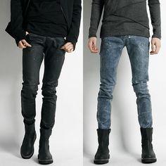 Remember Click Paint Splattered Coated Skinny Jeans BLACK BLUE S M L Korean Wear #RememberClick #SlimSkinny