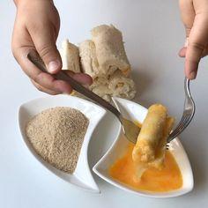 Pofuduk Börek Tarifi için Malzemeler Tost ekmeği Labne peynir Közlenmiş kırmızıbiber Mısır Yumurta Galeta unu [caption id=