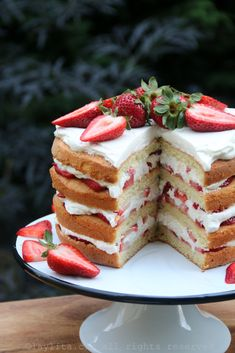Strawberry Layer Cake ~ The perfect light summertime dessert made with layers of vanilla sponge cake with some light lemon zest, honeyed whipped cream and fresh strawberries...can't wait to try this one!
