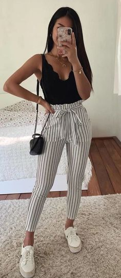 white and black pinstripe pants #summer #outfits