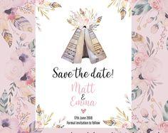 Boho save the date card Personalised Prints, Save The Date Cards, Etsy Seller, Dating, Place Card Holders, Invitations, Boho, Creative, Handmade