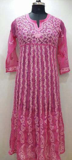 Lucknow Chikan Online Anarkali Kurti Rani Pink Faux Georgette $46.5
