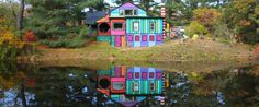 A New York Artist Turned Her 170-Year-Old Farmhouse Into A Rainbow Playground **I don't think I could have done that to a house that is 170 yrs old because I love the old, decayed look. But this is actually really cool!**