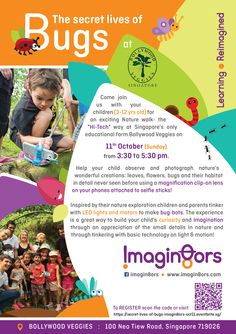 """Step aside haze, little kids in Singapore want to go adventure-ing! Head out to the Kranji countryside to explore """"The secret lives of bugs"""" in this parent-child workshop conducted by Imagin8ors at Bollywood Veggies! Nature and technology go hand-in-hand in this creative experience that puts selfie sticks to the best use we've seen so far!"""