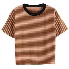 Orange Striped Ringer Tee (100 DKK) ❤ liked on Polyvore featuring tops, t-shirts, striped top, brown t shirt, stripe t shirt, brown tee and stripe top