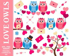 BUY 1 GET 1 FREE  Love Owls Clip Art  Owl by TheCreativeMill