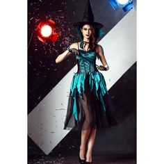 Dark Green Sexy Witch Costume ($36) ❤ liked on Polyvore featuring costumes, witch costume, sexy witch halloween costume, salem witch costume, sexy costumes and sexy witch costume