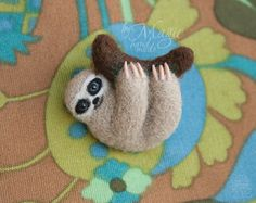 Felted sloth brooch sloth pin needle felted animal by byMagic