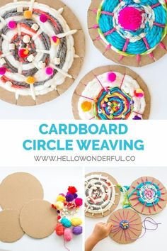Easy kid-made woven art from cardboard circles and yarn. Easy kid-made woven art from cardboard circles and yarn. The post Easy kid-made woven art from cardboard circles and yarn. appeared first on Craft Ideas. Recycled Crafts Kids, Kids Crafts, Arts And Crafts, Crafts With Yarn, Art Crafts, Creative Crafts, Weaving For Kids, Weaving Art, Loom Weaving