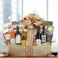 Wine Gift Baskets - Red and White Wine Gift Basket