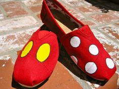 Mickey and Minnie Inspired Hand Painted Toms by aTOMicKicks, $80.00  Making the girls these before out next DW trip