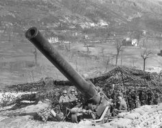 "A 240-mm M1 howitzer, nicknamed ""Black Dragon"" , 698th Field Artillery Battalion, 5th U.S. Army position in San Vittore, Italy. March 1944. Howitzers played a critical role during the Italian campaign given the mostly mountainous or hilly terrain that made indirect fires an absolute priority."