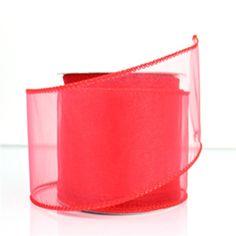 Sheer Chiffon Wired Ribbon, 2-1/2-inch, 25-yard, Melon