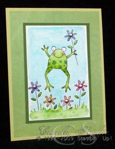 Frog and 5 flowers