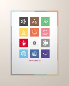calendar design - Designed by Taiwan based designer Ainorwei Lin, this calendar design celebrates the colourful simplicity of icon design. As each icon design focuses on the weather aspects of each month, the calendar is available both as a large print and as a set of postcards.