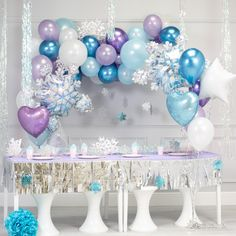 DIY Garland Balloon With Purple White Blue Chrome Metallic Latex Balloons Perfect for Frozen Birthday Party Baby Shower Winter Wonderland Party Decorations Christmas Party. Frozen Balloons, Princess Balloons, Bubblegum Balloons, Frozen Themed Birthday Party, Disney Frozen Birthday, 4th Birthday, Frozen Birthday Outfit, Birthday Ideas, Frozen Party Decorations