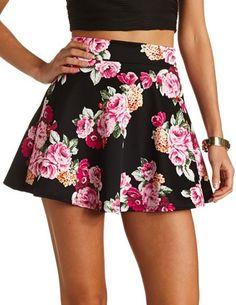 High-Waisted Floral Skater Skirt: Charlotte Russe