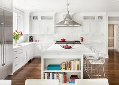 Get inspired by Kitchen Design photo by Clean Design Partners. AllModern lets you find the designer products in the photo and get ideas from thousands of other Kitchen Design photos. Grey Kitchen Island, All White Kitchen, Kitchen Islands, White Cottage Kitchens, White Subway Tile Backsplash, Kitchen Pantry, Organized Kitchen, Chef Kitchen, Kitchen Cabinets