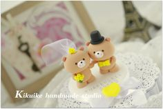 bride and groom bear Wedding Cake Topper by kikuike on Etsy