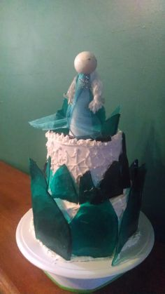 Frozen inspired cake with rock candy ice