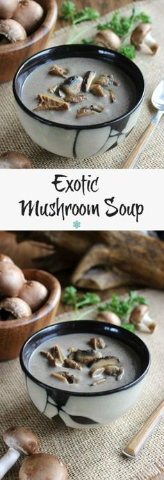 Slow Cooker Exotic Mushroom Soup is turned up a notch with those mushrooms that you have always wanted to try.  Rich, creamy, beautiful and easy.