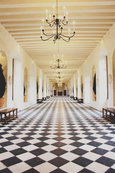 Chateau de Chenonceau black and white marble floor hallway, Loire Valley, France. | the pretty crusades