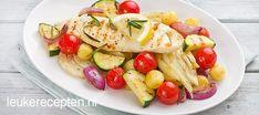 Makkelijk en gezond; gegrilde groenten geserveerd met een lekker stukje vis met rozemarijn
