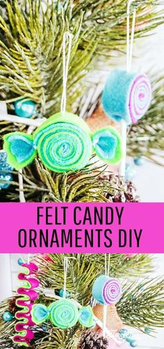 Felt candy Ornaments DIY. Easy and fast to make, so many different color schemes you can make these Christmas Tree ornaments in! #treedecorations #holidaycrafts #handmadeornaments #christmascraft #christmasdiy #christmasornament #christmasornaments #christmasdecoration #christmasdecorations #handmadechristmasdecoration Handmade Christmas Decorations, Handmade Ornaments, Christmas Crafts For Kids, Christmas Activities, Diy Christmas Ornaments, Christmas Candy, Holiday Crafts, Christmas Holidays, Christmas Ideas
