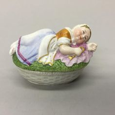 Antique Porcelain Fairing Trinket Box Dressed Reclining Woman Holding Gold Key