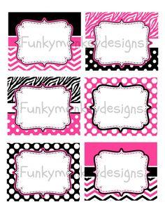 Diy INSTANT DOWNLOAD Minnie Mouse Inspired Birthday Party Digital PRINTABLE food labels Pink,Zebra,Black Polka Dots via Etsy