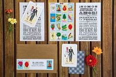 Invitaciones para tu boda de inspiración mexicana con dibujos y figuras.