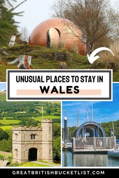 The most unusual places to stay in Wales include a dragon's egg suspended from a tree, a hobbit house and an ancient castle. Whether youre visiting north, south, west or mid-Wales, theres somewhere for you. From crazy modern conker houses in the countryside, to floating pods on the water, a treehouse and an old church thats perfect for a family getaway, these unique and quirky accommodation options will amaze you! #VisitWales #BreconBeacons #Snowdonia #UKTravel #QuirkyAccommodation #Glamping