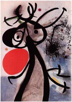 Femme, oiseaux devant le soleil - Joan Miro 1972