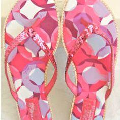 Coach Pink Sequin Flip Flops
