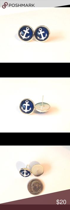 Handmade Anchor Earrings Navy Posts Glass Beautiful nautical stud earrings made of glass mounted on a silver colored post. Handmade with care by me. These used to be featured on Etsy. Lovely navy blue color. Unique and fun, easy to dress up or down. Anchors aweigh! More colors available in my closet! Darker than picture appears. Handmade Jewelry Earrings