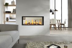 Exclusive double sided fireplace design ideas in modern home interiors : Modern Home Contemporary Double Sided Fireplace Living Room Dining Room Modern Fireplace Screen, Glass Fireplace Screen, Fireplace Doors, Double Sided Fireplace, Home Fireplace, Living Room With Fireplace, Fireplace Design, Fireplace Ideas, Fireplace Inserts