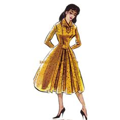 Vintage Sewing Pattern 1956 Dress- Pattern 22 Erin: A 1956 dress with a polo neck collar, a front bodice yoke, long sleeves, princess seams with pleated front skirt panel and a full skirt.
