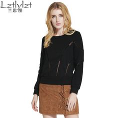 autumn winter women Hollow out long sleeve sweatshirt moletom feminina sweatshirts woman hoodies casual new style