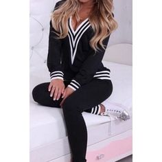 724d6a07d23c0 Women Sweatshirt Sportwear Tracksuits Clothes Sets Autumn Winter Casual  V-neck 2 Piece Set Hoodies Pullover Slim Patchwork