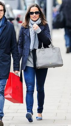 Pippa Middleton wearing Lamb 1887 Joanna Ostrich Bag Pine Cone Hill Dots Grey Scarf French Sole Love Heart Beulah Blue Heart Ballerina Pumps PAIGE Skyline Skinny jeans in Ravine Zara Navy Trench coat Pure Collection Curved Hem Cable Sweater