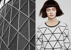 Geometric architecture geometric pattern on jumper Alpine New Fashion Trends, Fashion Models, Fashion 2015, Circle Square Triangle, Geometric Fashion, Minimal Fashion, Minimal Style, Sustainable Fashion, Sustainable Style