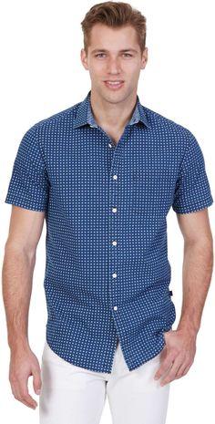 Printed Chambray Short Sleeve Shirt