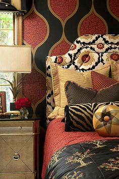 Awesome mix of bold patterns.  turkish red, black, and wheat gold. Custom bedding DesignNashville.com
