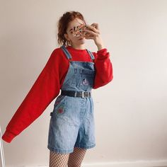 Red super long sleeve top & short denim overalls with black belt & fishnet stock - Black Belt - Ideas of Black Belt - Red super long sleeve top & short denim overalls with black belt & fishnet stockings look Retro Outfits, Cool Outfits, Summer Outfits, Vintage Outfits, Casual Outfits, Outfits With Red, Outfits With Overalls, Outfits With Fishnets, 80s Style Outfits