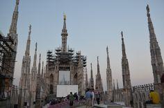 Screen on the Duomo Terrace, Milan, Italy.